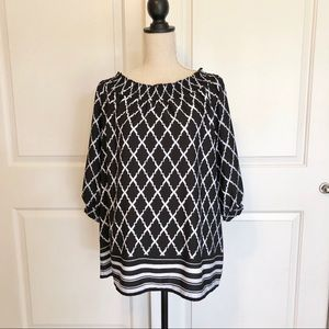 Chico's Black & White Patterned Top